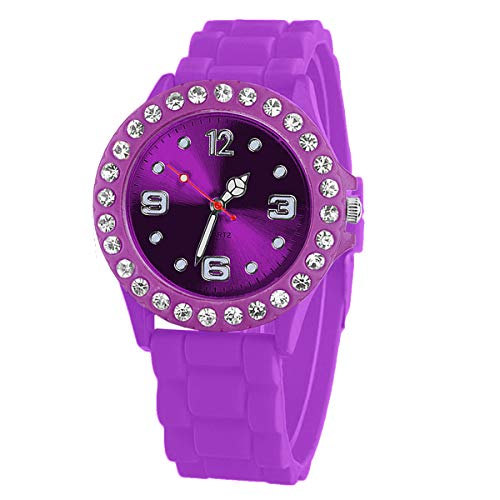 Taffstyle Damen-Armbanduhr Sport Analog Quarz mit Silikonarmband Strass Kristallen Silikon Uhr Lila Violett