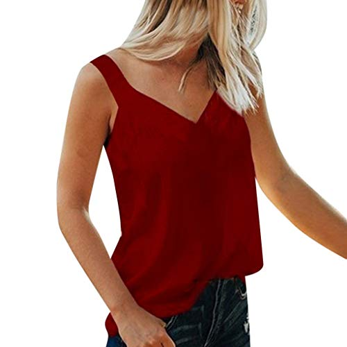 Zegeey Damen Tops äRmellose V-Ausschnitt Einfarbig Sommer LäSsige Lose Camis Bluse Shirt Oberteil Pullover Rot Schwarz GrüN Marine Wein Blau Pink Grau(Wein,EU-42/CN-XL)