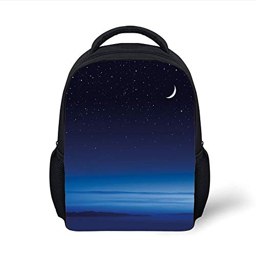 Kids School Backpack Night,Moon Stars Over Santa Barbara Channel Infinity Foggy Pacific Ocean Decorative,Dark Blue Sky Blue White Plain Bookbag Travel Daypack Santa Barbara Rucksack