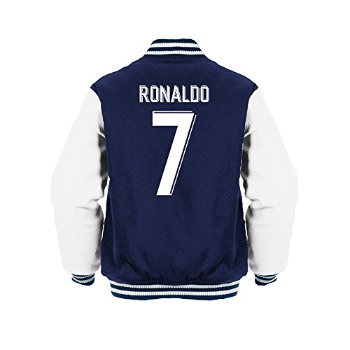 Cristiano Ronaldo 7 Club Player Style Kids Varsity Jacket Navy/White/White, Large Boys (9-11yrs)
