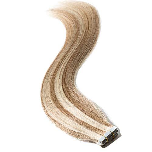 55cm extensions bionda con biadesivo tape in remy hair extension capelli veri adesive riutilizzabili 20 fasce 50grammi #12/#613 marrone chiaro/biondo chiarissimo