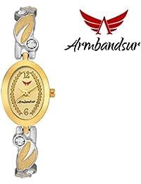 Armbandsur silver & golden strap golden dial watch- ABS0048GGS