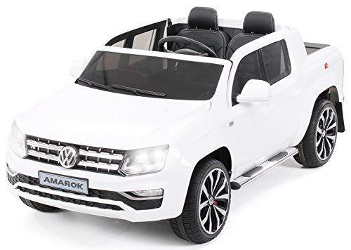 Actionbikes Motors Kinder Elektroauto Volkswagen Vw Amarok SUV - Lizenziert - 2-Sitzer - Eva Vollgummireifen - Fernbedienung - Elektro Auto für Kinder ab 3 Jahre - Kinderauto Spielzeug (Weiß)