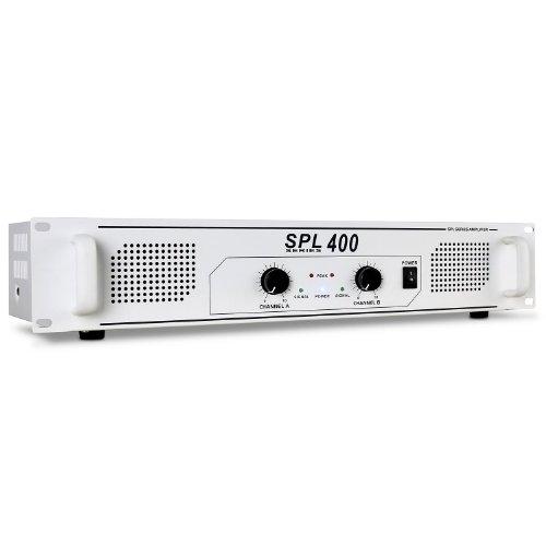 Skytec SPL400 schneeweißer PA-Verstärker PA Endstufe (400W RMS, Stereo-Chinch-IN, geeignet zum 48cm Rack-Einbau ) weiß 400w 4 Ohm Subwoofer