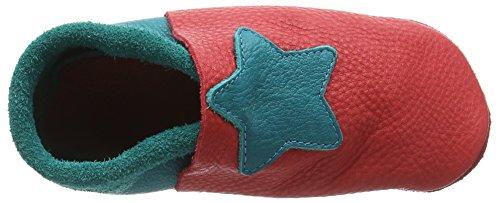 Pololo Unisex-Kinder Kleiner Stern Flache Hausschuhe Rot (berry waikiki 234)
