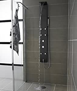 AS317 - Colonne de douche thermostatique Cascade - Coque en acier inoxydable finition métal brossé, anodisée noir. 6 buses de massage. Sécurité anti-brûlure