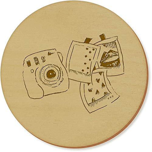 Azeeda 6 x 'Polaroid-Set' Runde Hölzerne Untersetzer (CR00024685)