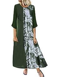 ღLILICATღ Vestidos de Mujer Casual, Vestido Tallas Grandes Remiendo de la Vendimia Ocasional Flojo Vestidos Wrap Floral Impreso Estilo étnico de Beach Maxi Vestido Largo Algodón y Lino Vestido