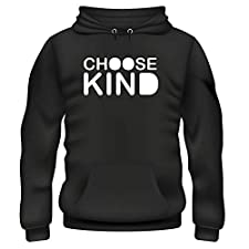 Mens Hoodie Choose Kind Stop Bullyng Simple (Black and White, XL)