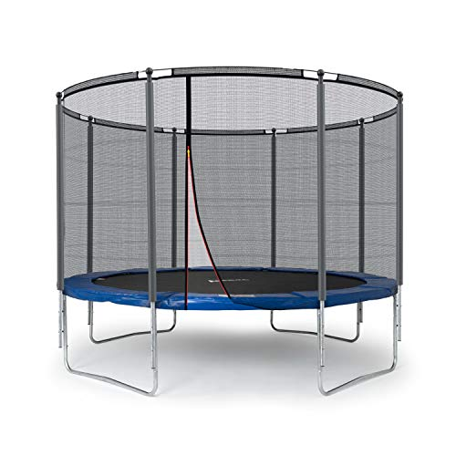 Ampel 24 Outdoor Trampolin 305 cm blau komplett mit außenliegendem Netz, Stabilitätsring, 8 gepolsterten Stangen, Belastbarkeit 150 kg