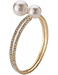 Efulgenz Designer Jewellery Stylish Fancy Party Wear Pearl Adjustable Bracelet For Girls And Women