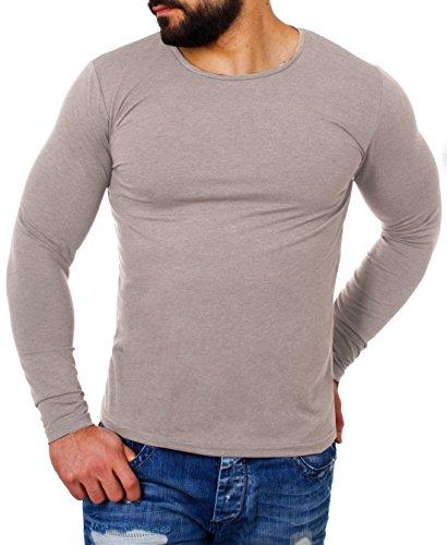 Young&Rich Herren Longsleeve Rundhals Ausschnitt Langarm Shirt einfarbig Slimfit mit Stretchanteilen Uni Basic Round-Neck Tee 2002, Grösse:L, Farbe:Hellbraun