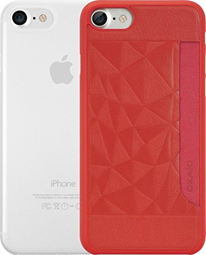 Ozaki O!Coat 0.3 Jelly & Pocket 2 in 1 Schutzhüllen Set für Apple iPhone 7 / 8 [Rotes Cover mit Kartenfach + und transparentes Cover | 0.3mm dünn | Extrem passgenau] - OC722RC