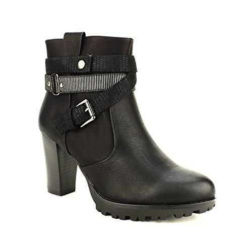 Cendriyon Bottine Basse Noire GLAMYS Chaussures Femme Noir