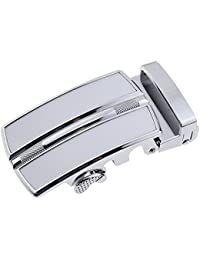 TOOGOO(R) Men's Solid Buckle Automatic Ratchet Leather Belt Buckle In the middle with an edge-Silver