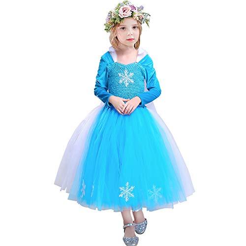 CQDY Mädchen Schnee Königin ELSA Kostüm Flanell Prinzessin Halloween Kostüm Party Outfit Kostüm mit Langen Ärmeln