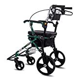 XINYAN JIA Deambulatore 4 Ruote Pieghevole Leggero Telaio Alluminio Cestino sotto Sedile Bloccaggio Freni Aiuta A Camminare Mobilità Ruote Girevoli
