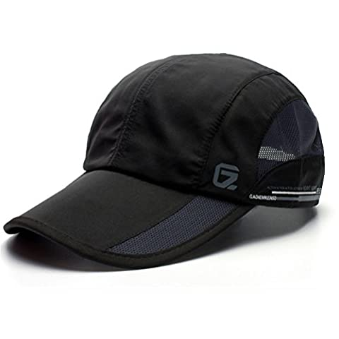 GADIEMENSS Quick Dry Sports Hat Lightweight Breathable Soft Outdoor Running Cap (Classic UP, Black)