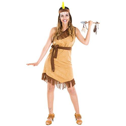 Frauenkostüm Indianerin | Sexy Kleid + Haarband mit Federn und Bindegürtel | Squaw Indianer Faschingskostüm (XXL | 300598) (Hot Sexy Cowgirl Kostüme)