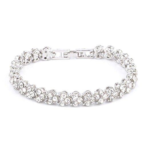 VJGOAL Damen Armband, Frauen Mädchen Geschenk der Frau Valentinsgrußes Mode IM Römischen Stil Kristall Diamant Armbänder Geschenke (16.5CM, Silber)