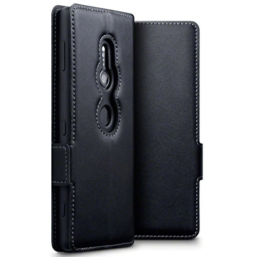 Terrapin, Kompatibel mit Sony Xperia XZ2 Hülle, ECHT Leder Börsen Tasche - Ultra Slim Fit - Betrachtungsstand - Kartenschlitze - Schwarz