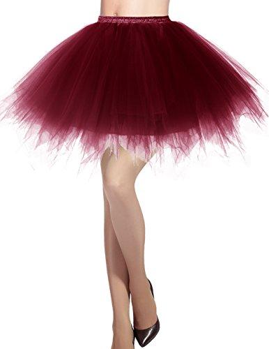 Dresstells Damen Tüllrock 50er Rockabilly Petticoat Tutu Unterrock Kurz Ballett Tanzkleid Ballkleid...
