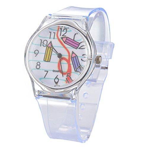 Homim Damen Armbanduhr Quarzuhr Transparent Kunststoff Armband Bleistift Muster Zifferblatt Dornschließe Frauen Mädchen Analog Uhr mit Batterie (Muster Bleistift)
