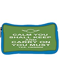 Snoogg Eco Friendly Canvas Keep Calm And Carry On Student Pen Pencil Case Coin Purse Pouch Cosmetic Makeup Bag