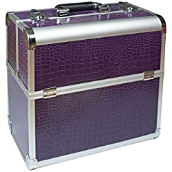 Maletín de cosmética, aluminio lila Croco Diseño redondo de Beauty de Case Peluquería maletín maletín