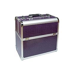 N&BF Profi Kosmetikkoffer groß | 35 x 22 x 36 cm | Violet (Lila) | robuster Nagelkoffer aus Aluminium | Beautycase mit viel Staurum | Aufklappbare Fächer auf zwei Etagen verteilt | pflegeleicht