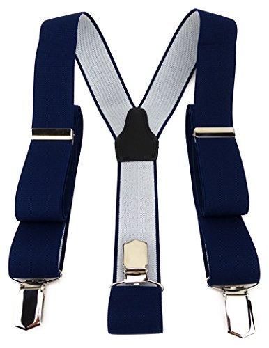 nträger in Y-Form mit 3 extra starken Clips - Farbe in marine dunkelblau einfarbig Uni - hochwertige Verarbeitung - Breite 35 mm ()
