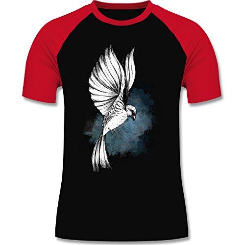 Vögel - Vogel Aquarelle Zeichnung - zweifarbiges Baseballshirt für Männer Schwarz/Rot
