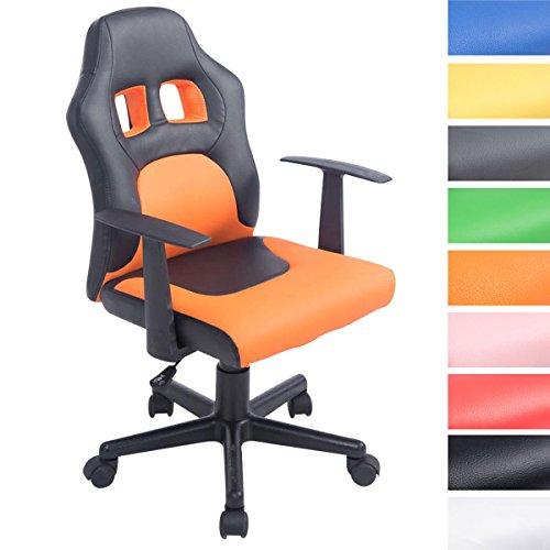 CLP Kinder Bürostuhl FUN mit Armlehne, Kunstlederbezug, gepolstert, Sitzhöhe ca. 40 - 50 cm, für Mädchen und Jungen schwarz/orange