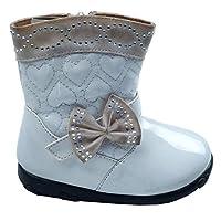 Loris 0443 Su Geçirmez Fermuarlı Çizme Kız Çocuk Bot Ayakkabı BEYAZ