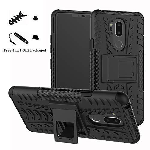 LiuShan LG G7 Hülle, Dual Layer Hybrid Handyhülle Drop Resistance Handys Schutz Hülle mit Ständer für LG G7 Smartphone (mit 4in1 Geschenk verpackt),Schwarz