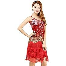 YiJee Salsa Tango Flamenco Baile Latino Elegante Lentejuelas Borla Vestido
