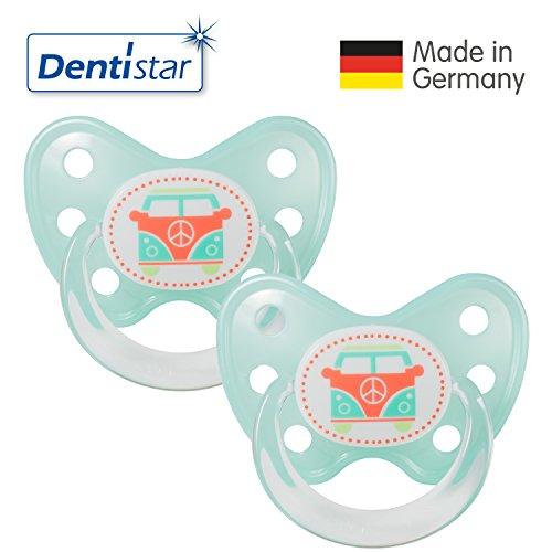 Dentistar® Latex Schnuller 2er Set inkl. 2 Schutzkappen - Nuckel Naturkautschuk Größe 3, ab 14 Monate - für Babys - Bus, türkis