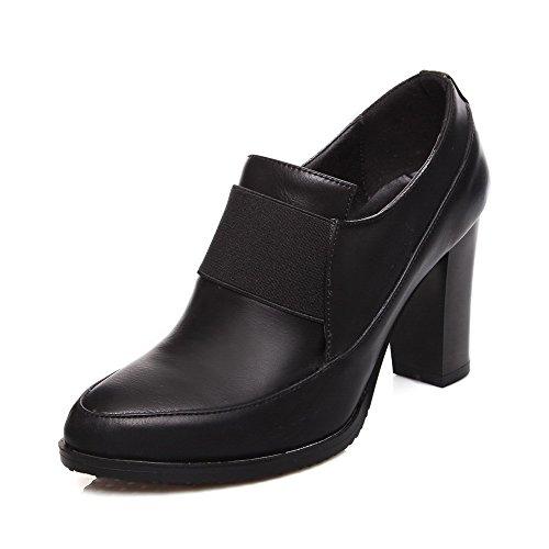 AllhqFashion Femme Pointu Matière Mélangee Couleurs Mélangées Élastique Chaussures Légeres Noir