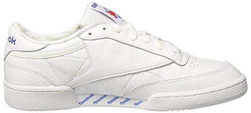 Reebok Club C 85 So, Scarpe da Fitness Uomo Bianco (White/Lgh Solid Grey/Vital Blue/Prml Red/Blk)