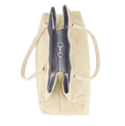 OBC Made in Italy Damen Wildleder Tasche Beuteltasche Shopper Schultertasche Henkeltasche Bag ca. 40x30x17 cm (BxHxT) (Dunkelblau/Navy) Beige