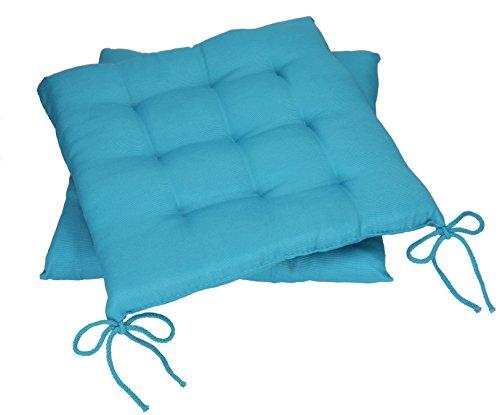 Betz Stuhlkissen Sitzkissen mit Bindebändern Holiday 40x40 cm Menge 2 Stück Farbe Petrol