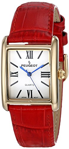 peugeot-womens-gold-tone-classic-red-leather-strap-watch