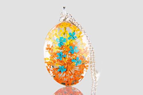Felicity Store - Saftige Früchte - Halskette Anhänger für Damen - Silber 925 - Natürliche Blumen, handgemachter Schmuck