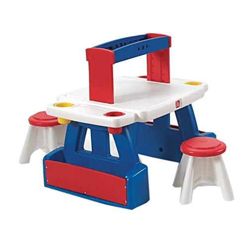 Kindermöbel-Set Mit Multifunktionstisch 2 Stühle, Malerei Und Kalligrafie Tisch Doppel-Lernen Schreiben Mit Speicher-Rack -