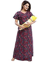 Tufab® Women's Cotton Crush Printed Feeding/Maternity/Nursing Nighty Style
