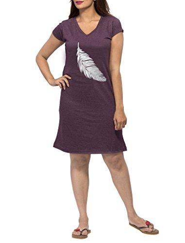 Clifton Women's Printed Long Top Night Wear -Deep Purple Melange -Silver Metalic Leaf-M