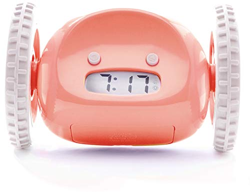 CLOCKY - El original y divertido despertador con ruedas para los dormilones, que sale corriendo, Rosa
