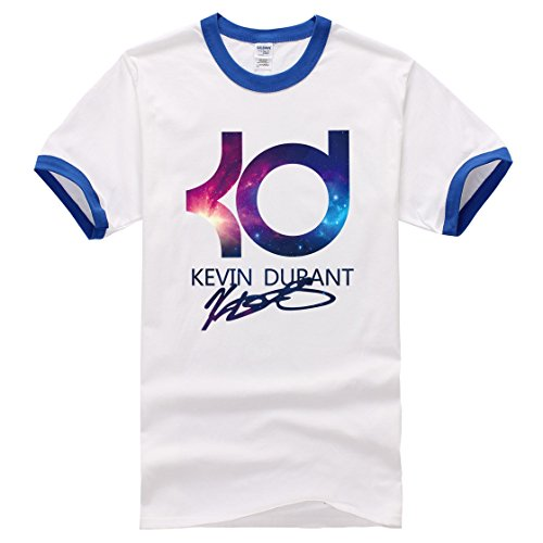 Men's Kevin Durant PrintedShort Sleeve Cotton Casual blue white