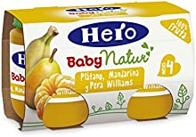 Hero Baby - Platano Mandarina Pera Williams 4 Meses 240 gr - Pack de 6 (Total 1440 gr)