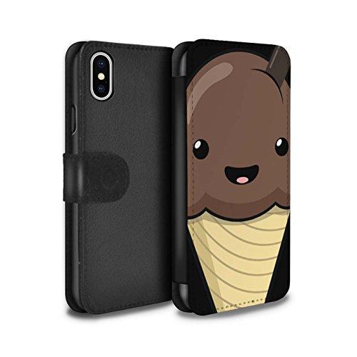 STUFF4 PU-Leder Hülle/Case/Tasche/Cover für Apple iPhone 6+/Plus 5.5 / Spiegelei Muster / Kawaii Essen Kollektion Schokolade Eis